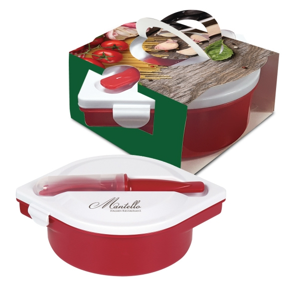 Multi-Compartment Food Container And Utensils With Custom...