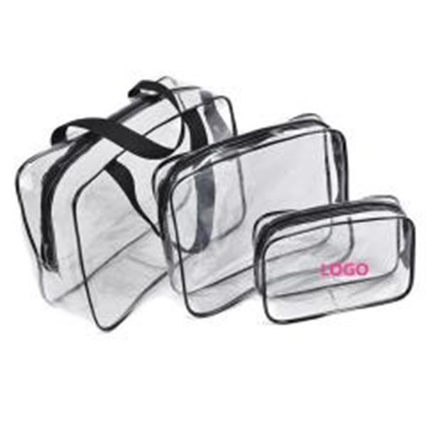 3-in-1 PVC Transparent Cosmetic Tote Bag Organizer Handbags