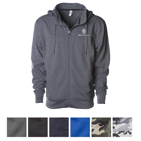 Independent Trading Company Men's Poly-Tech Zip Hooded Sw...