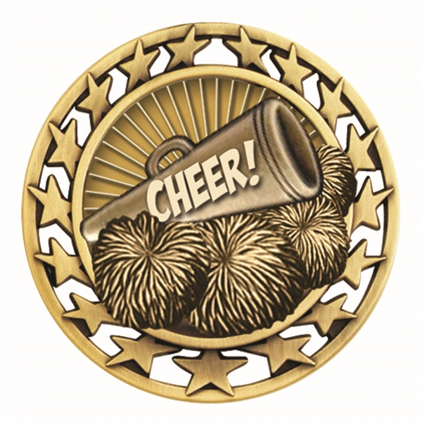"2 1/2"" Cheerleading Star Medallion"
