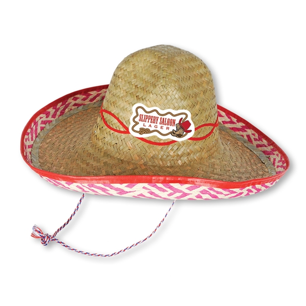 1a400400bab Straw Sombrero with Custom Printed Icon