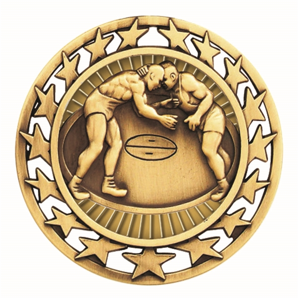 "2 1/2"" Wrestling Star Medallion"