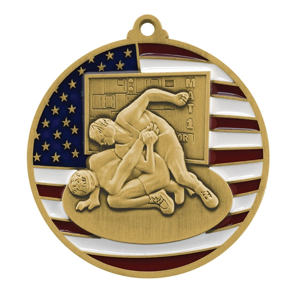 "2 3/4"" Wrestling Patriotic Medallion"
