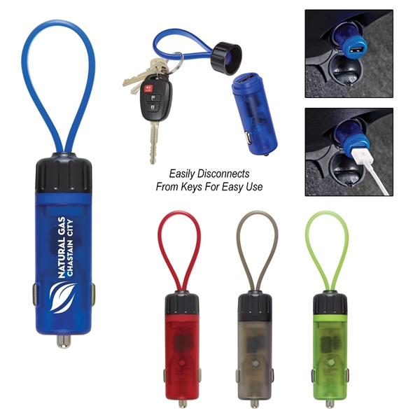 Luminous USB Car Charger Key Strap