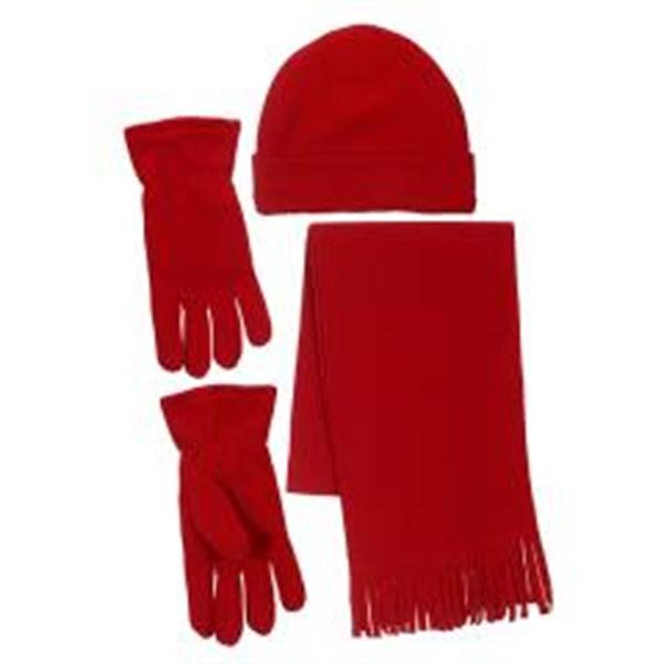 Winter Fleece Scarf Hat Gloves