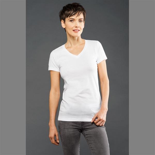 Eco-Hybrid Women's Fine Jersey Short Sleeve V-Neck Tee