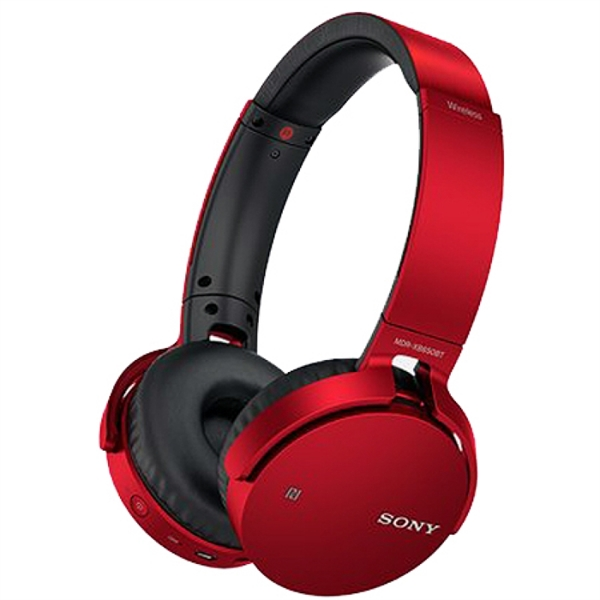 Sony Red Over-Ear Extra Bass Bluetooth Headphones