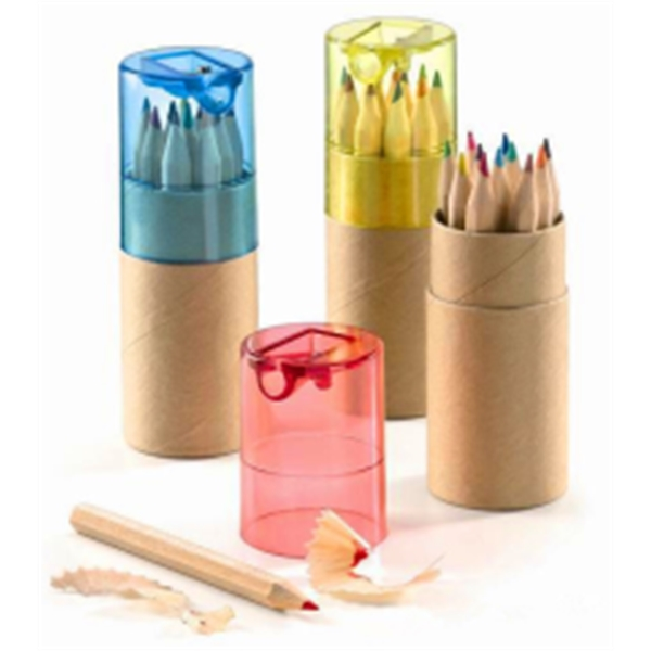 Color Wooden Pencil in Paper Tube with Sharpener