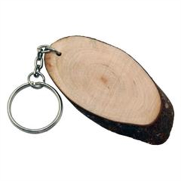 Mini Size Oval Shape Wood Log Slice Key Chain