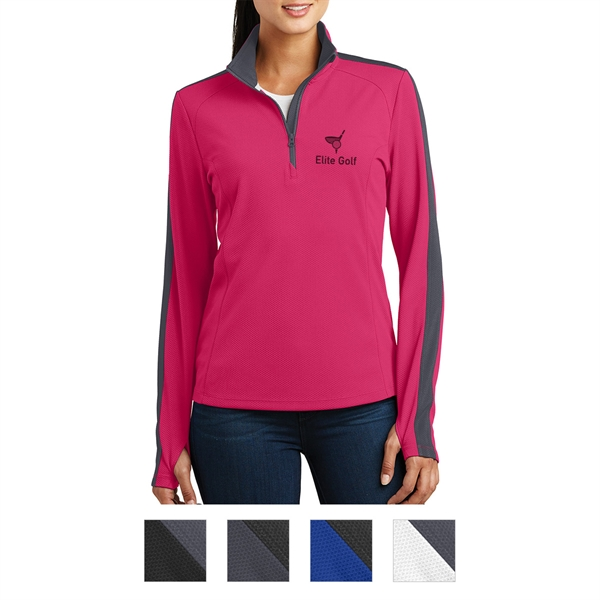 Sport-Tek Ladies' Sport-Wick Textured Colorblock 1/4-Zip ...