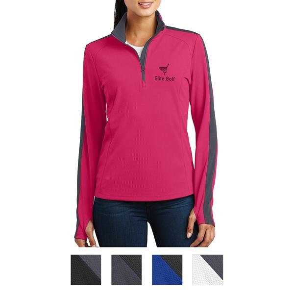 Sport-Tek Ladies' Sport-Wick Textured Colorblock 1/4-Zip ...