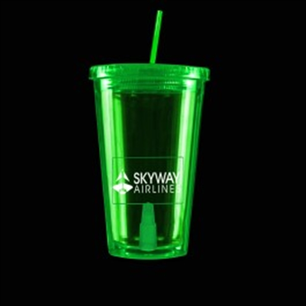 Green Light Up Travel Cup with Rectangle Insert