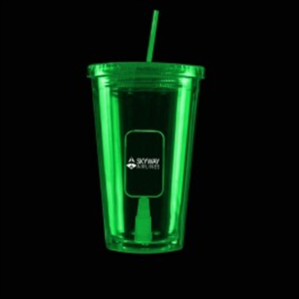 Green Light Up Travel Cup with Dog Tag Insert