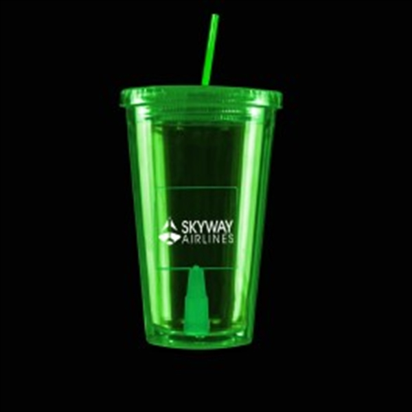 Green Light Up Travel Cup with Square Insert