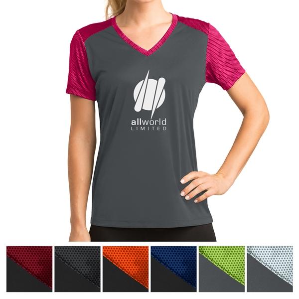 Sport-Tek Ladies' CamoHex Colorblock V-Neck Tee