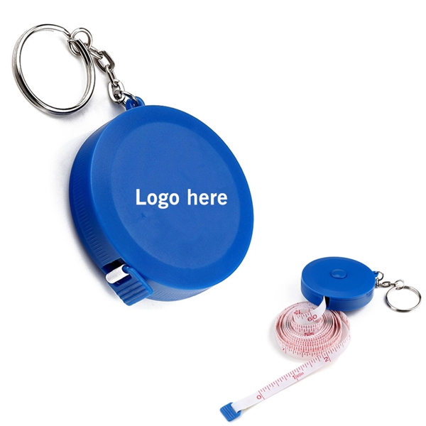 Round Tape Measure with Keychain