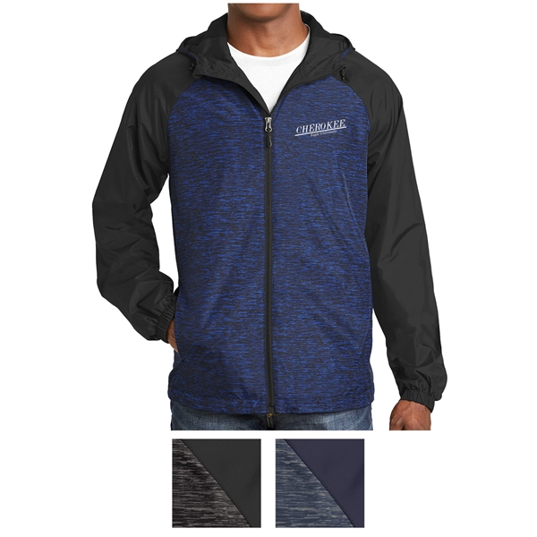 Sport-Tek Heather Colorblock Raglan Hooded Wind Jacket