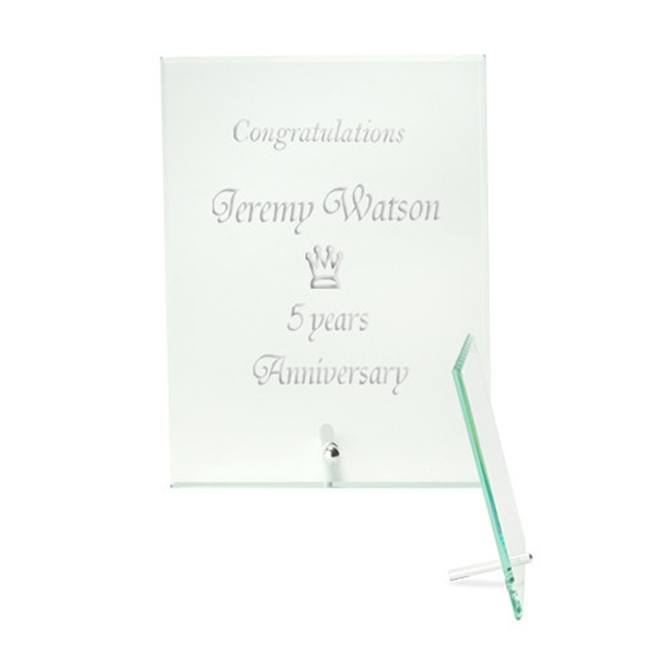 Small Jade Glass Plaque Award with Stand