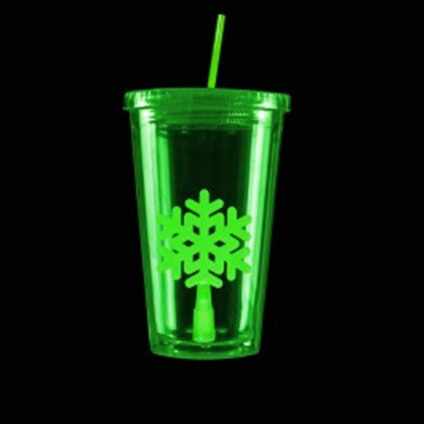 Green Light Up Travel Cup with Snowflake Insert