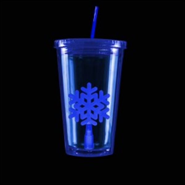 Blue Light Up Travel Cup with Snowflake Insert
