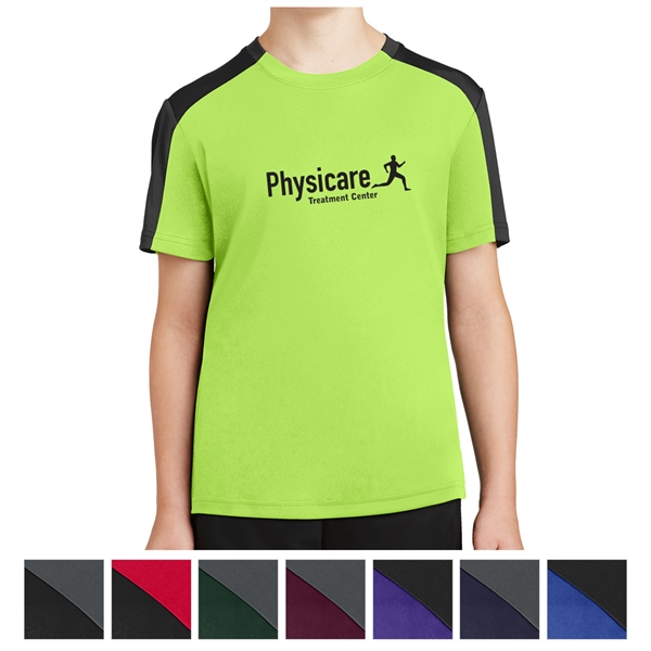 Sport-Tek Youth PosiCharge Competitor Sleeve-Blocked Tee