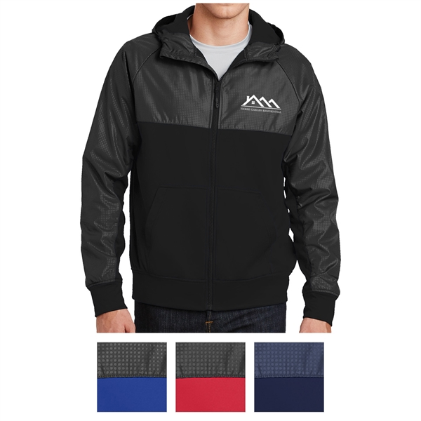 Sport-Tek Embossed Hybrid Full-Zip Hooded Jacket