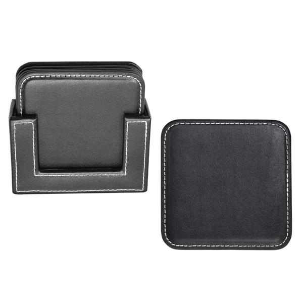 Vintage Leather 4-Square Coaster Set