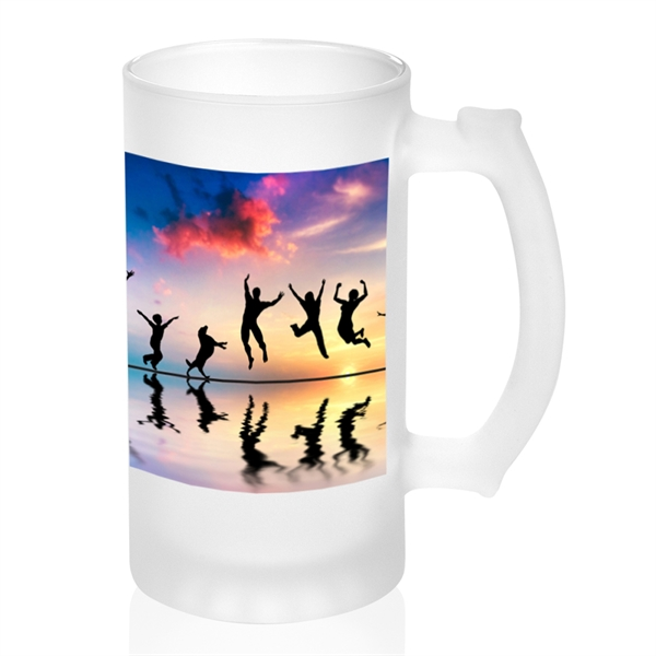 16 oz. Photo Frosted Glass Beer Mugs