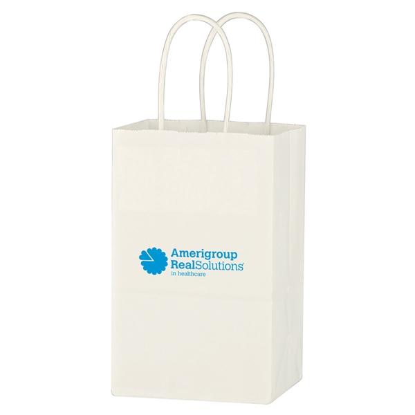 "Kraft Paper White Shopping Bag - 5-1/4"" x 8-1/4"""