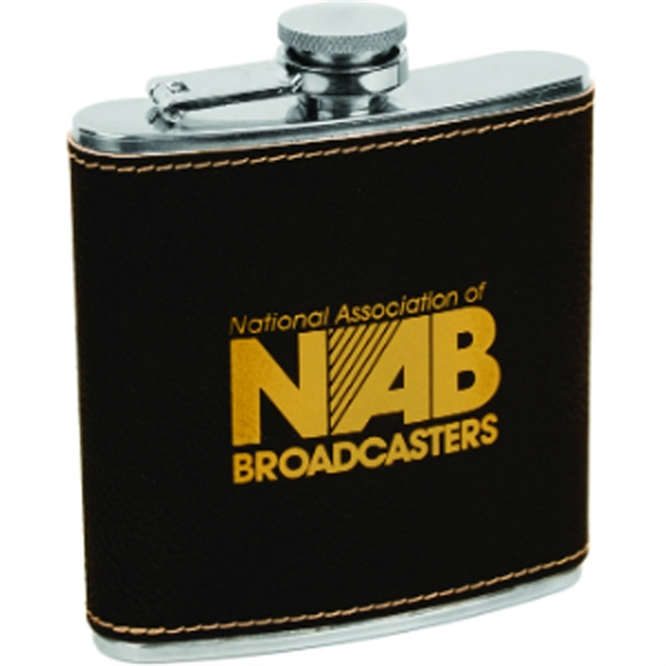 Black/Gold Leather-Wrapped Flask