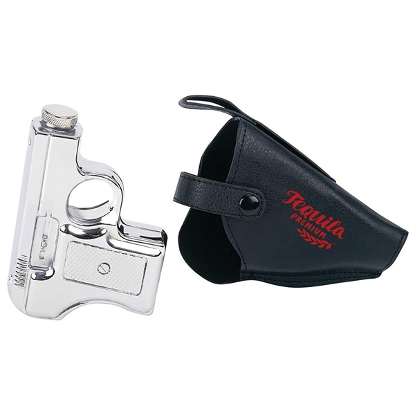 2pc Stainless Steel Pistol Flask Set