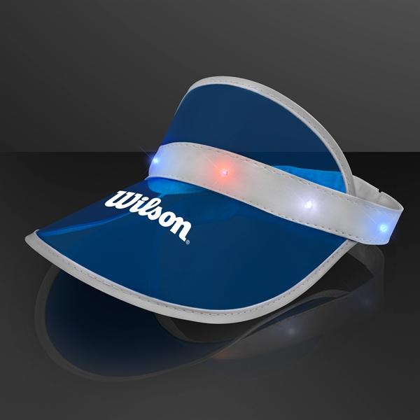 Blue Visor Hat with Red White & Blue LEDs