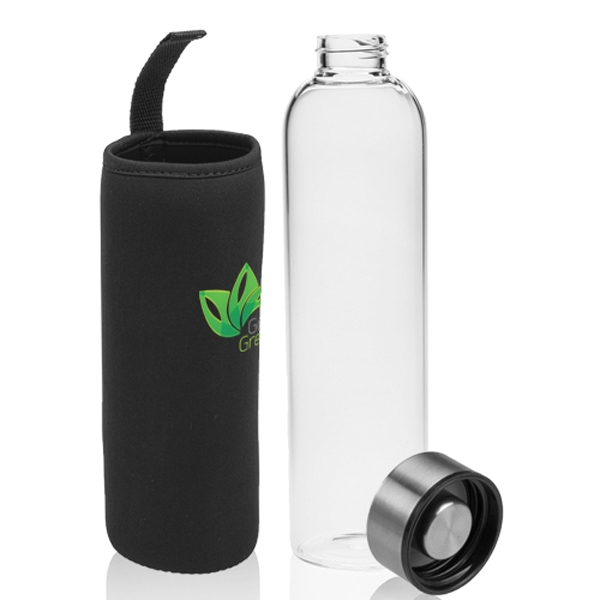 34 oz. Aarthus Glass Water Bottle with Carrying Pouch
