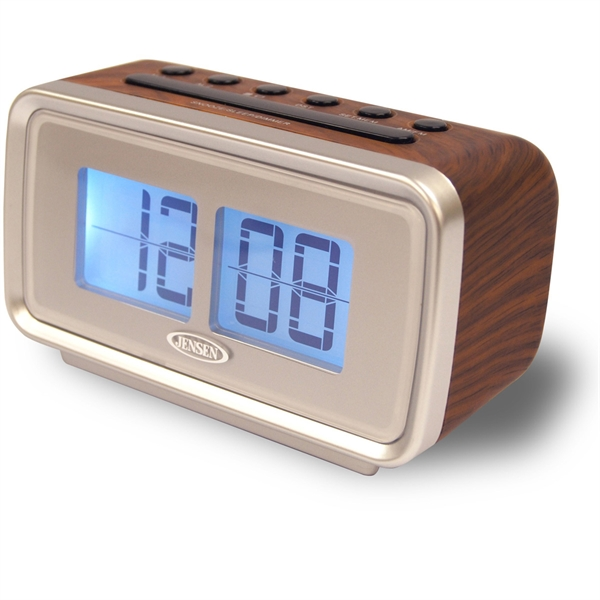jensen am fm dual alarm clock w digital retro flip display. Black Bedroom Furniture Sets. Home Design Ideas