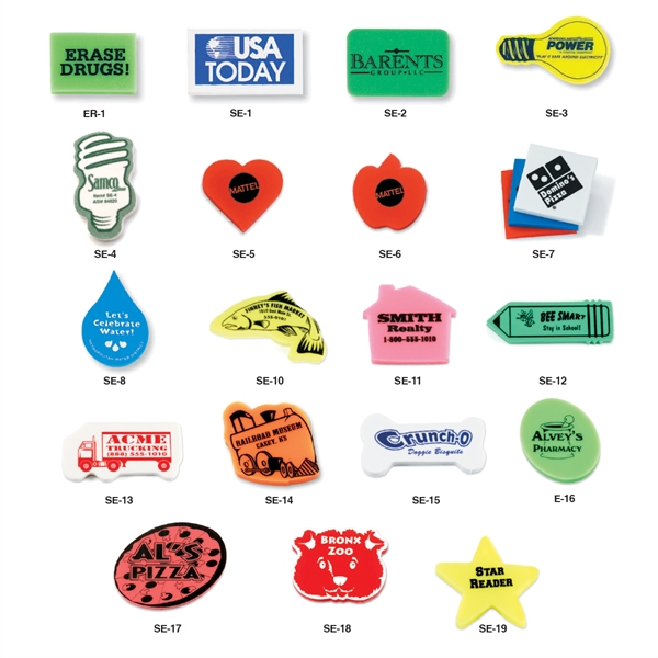 Stock Shaped Erasers
