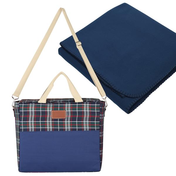 Tartan Kooler Bag With Fleece Blanket