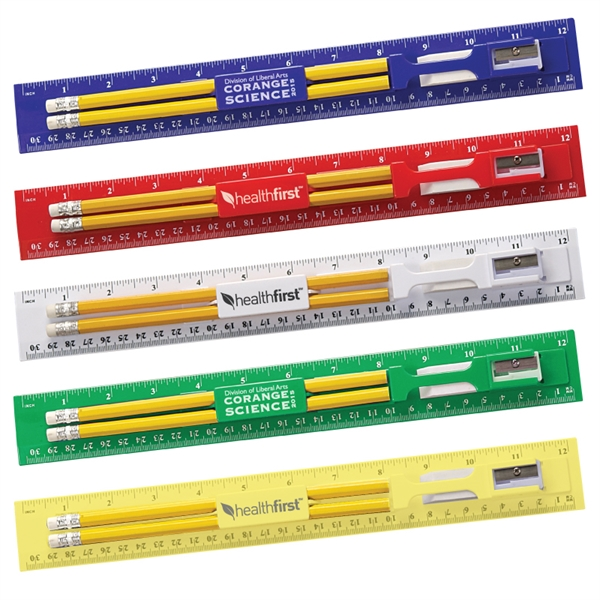 12 Inch Plastic Ruler Kit With Pencil, Eraser, Sharpener