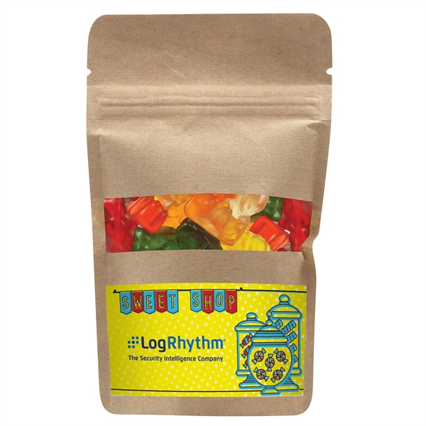 Resealable Kraft Window Pouch With Gummy Bears
