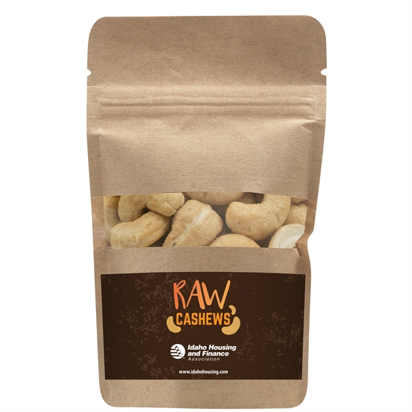 Resealable Kraft Window Pouch With Raw Cashews