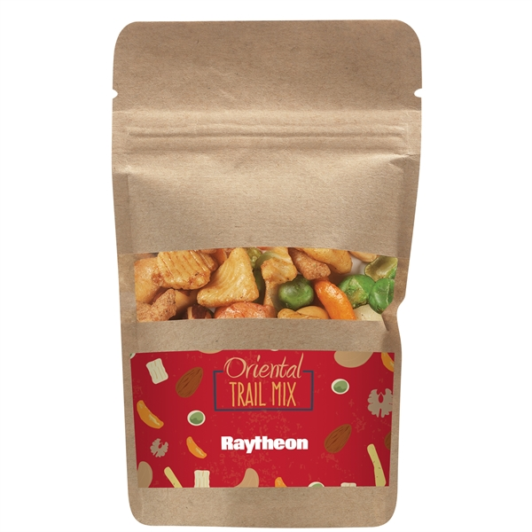 Resealable Kraft Window Pouch With Oriental Nut Mix
