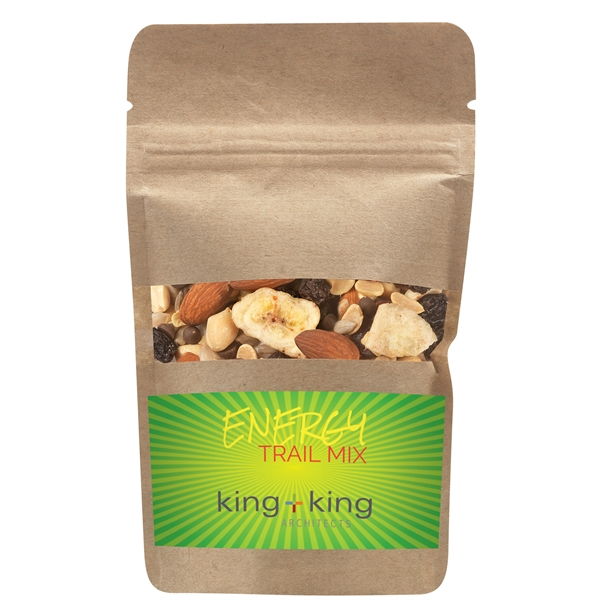 Resealable Kraft Window Pouch With Energy Trail Mix