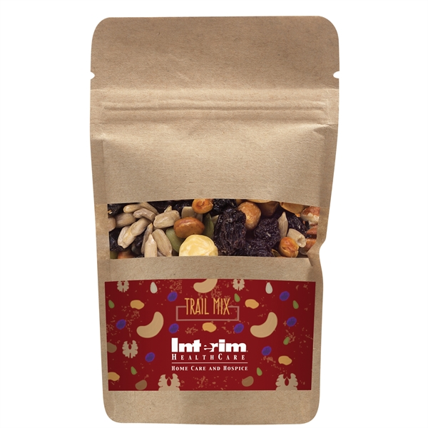 Resealable Kraft Window Pouch With Trail Mix
