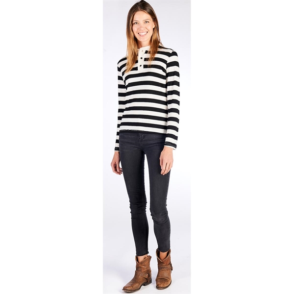 Ladies Striped Long Sleeve Henley Shirt