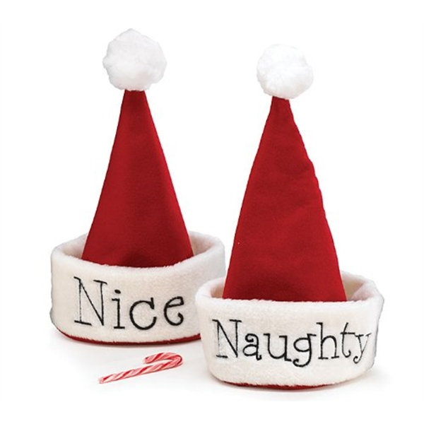 Santa Christmas Hat with Hand Stitched Naughty Or Nice Fest