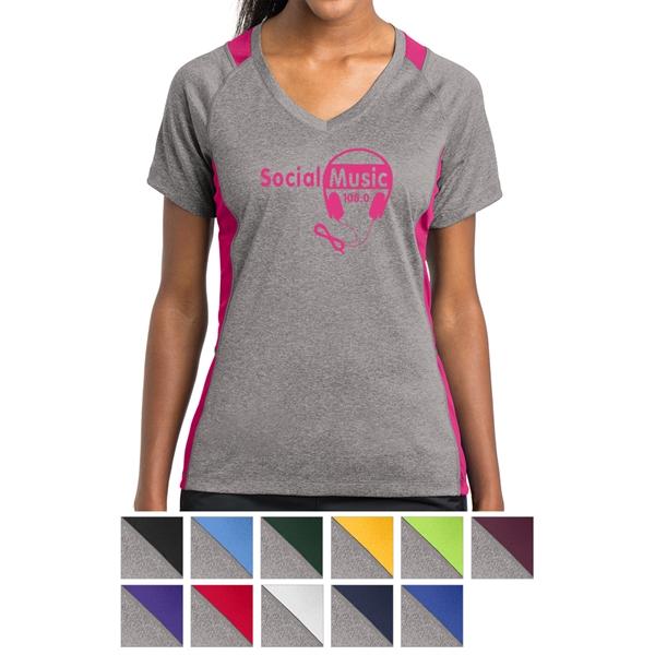 Sport-Tek Ladies' Heather Colorblock Contender V-Neck Tee