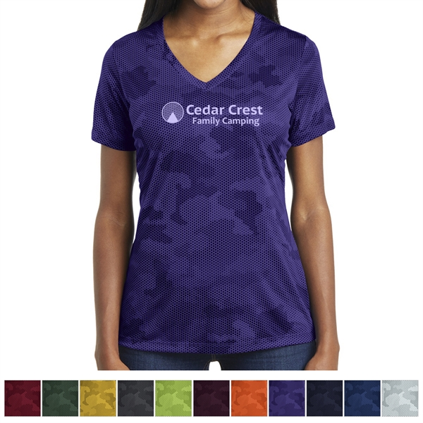 Sport-Tek Ladies' CamoHex V-Neck Tee