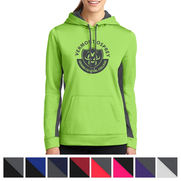 Sport-Tek Ladies' Sport-Wick Fleece Colorblock Hooded Pul...
