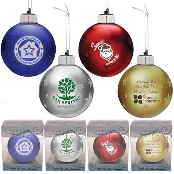 Light Up Glass Christmas Ornament-Gold with Multicolor LED