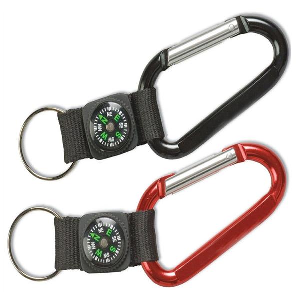 Carabiner Clip Compass Keychain