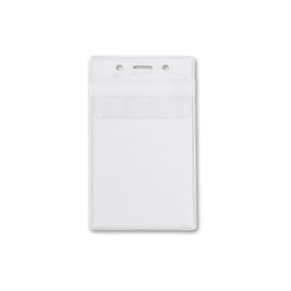 Clear Vinyl Vertical Plastic Card Holder w. Fold Over Flap